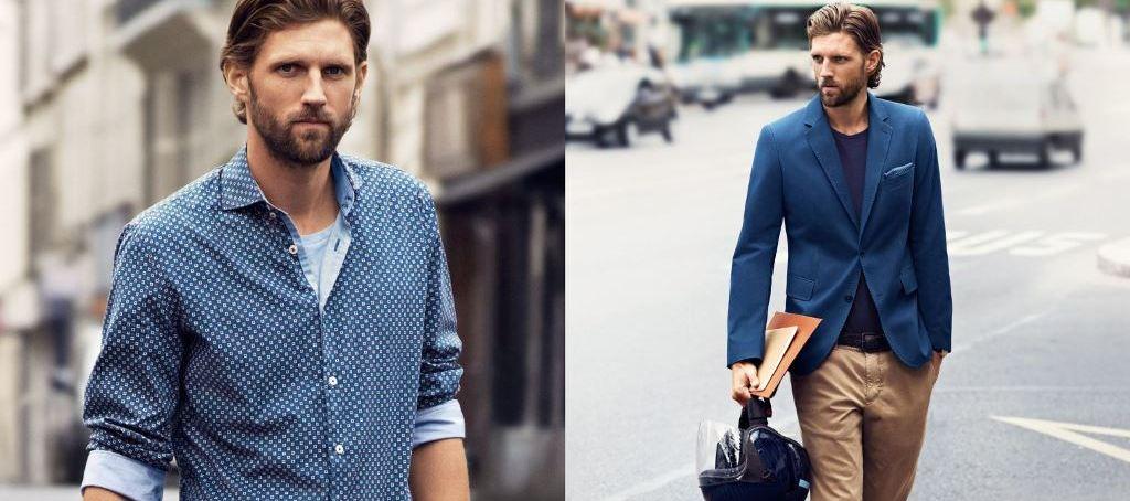 In der Männerabteilung dominiert momentan die Farbe Blau. Besonders gut wirkt sie in Kombination mit Beige.
