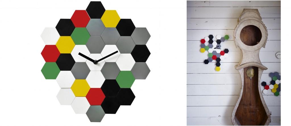 SMYCKE: Eine Wanduhr, die 100%ig einzigartig ist. Durch die kleinen Sechsecke kann sich jeder seine ganz eigene SMYCKE-Form zusammenstellen.