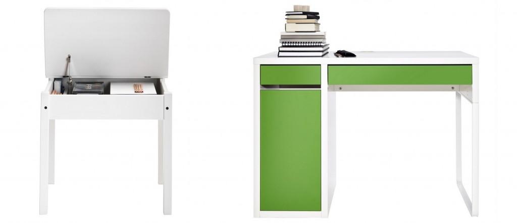 Schlicht und praktisch: Die Schulbank SUNDVIK und Schreibtisch MICKE bieten Arbeitsfläche und Stauraum zugleich.