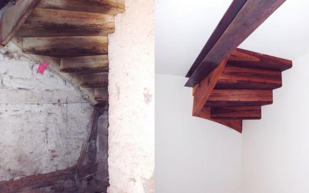 Die Kunst, eine morsche Treppe in ein ausgefallenes Decken-Kunstwerk  zu verwandeln.