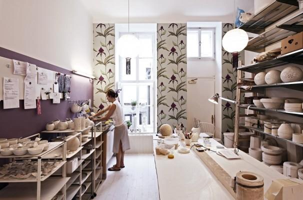 Im hinteren Teil des Ladens befindet sich das Atelier.